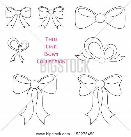 Vector thin line bows collection decorative elements