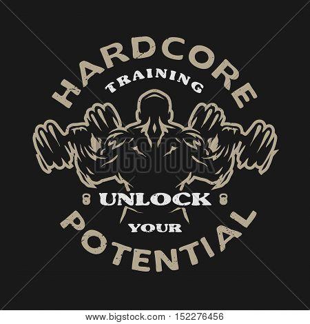 Hardcore training Emblem t-shirt design. Dark background.