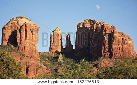 A View of Sedona's Famous Cathedral Rock and Waxing Gibbous Moon