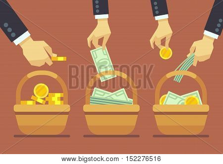 Business diversification vector concept. Do not put all your eggs in one basket. Finance balance and investment wealth illustration