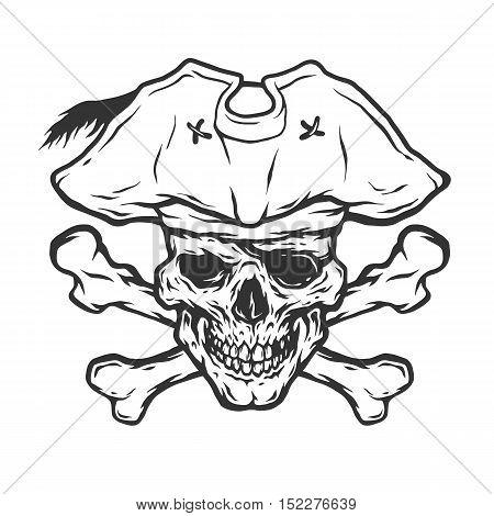 Pirate Skull and Crossbones Monochrome vector illustration.