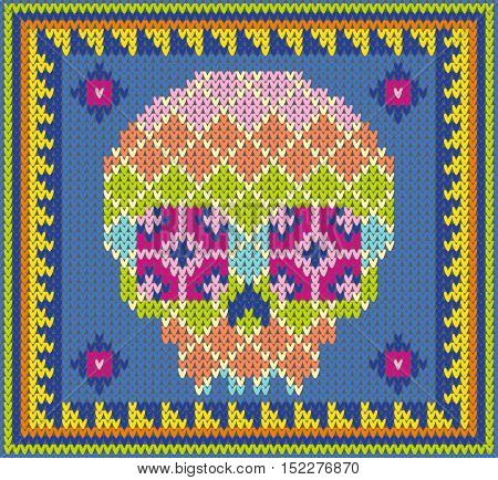 Pattern with skull and ethnic mexican elements. Day of the dead, a traditional holiday in Mexico. For postcard or celebration design. Traditional Latin American patterns and ornaments, colorful patterned skull. Vector Illustration