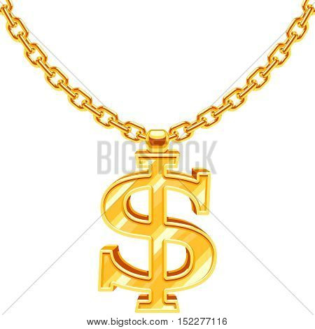Gold dollar symbol on golden chain vector hip hop rap style necklace. American money and financial luxury illustration