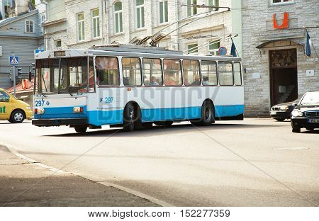 Tallinn, Estonia - May 23, 2008: A trolley bus turns into the street in the city center