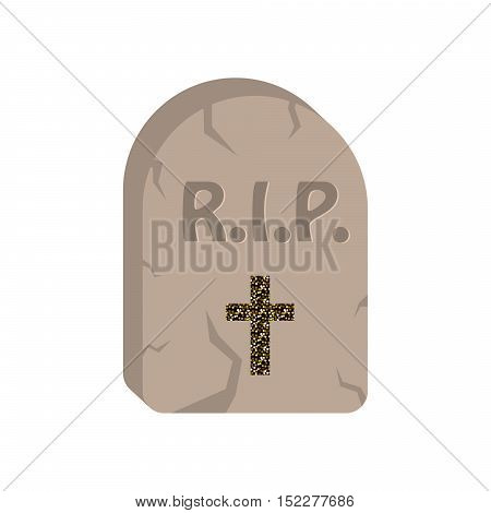 Gravestone cartoon vector icon. Tombstone with engraved rest in peace initials and cross.
