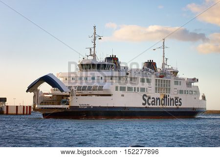 Helsingborg Sweden - November 13 2004: The car ferry Tycho Brahe associated shipping company Scandlines arrives at the port of Helsingborg after crossing the Sound from the port of departure in Helsingor Denmark.