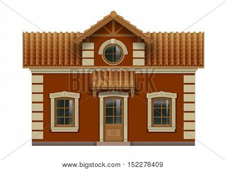 Little toy house for dolls. Facade in vector graphics