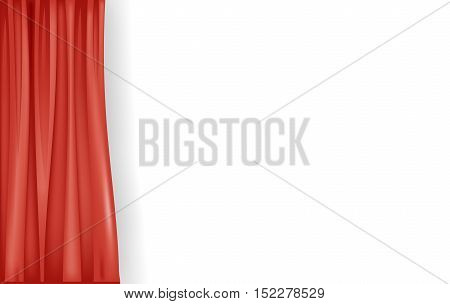 Banner with a red silk curtain on the background of a white wall. Vector graphics