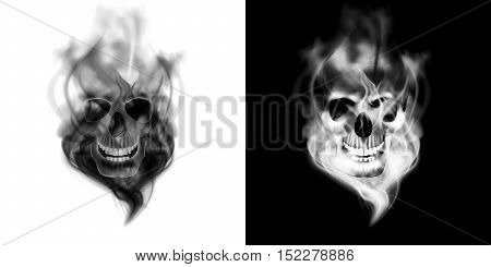 Realistic human skull in the smoke. Isolated object on white and black background can be used with any image or text.
