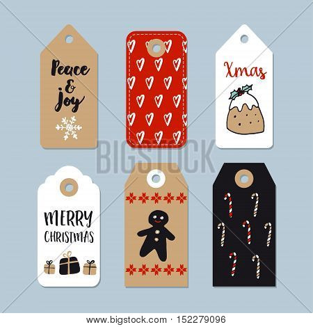 Set of cute Christmas gift tags labels. Hand drawn illustrations with gingerbread Christmas pudding candy canes and gift boxes. Isolated vector objects.