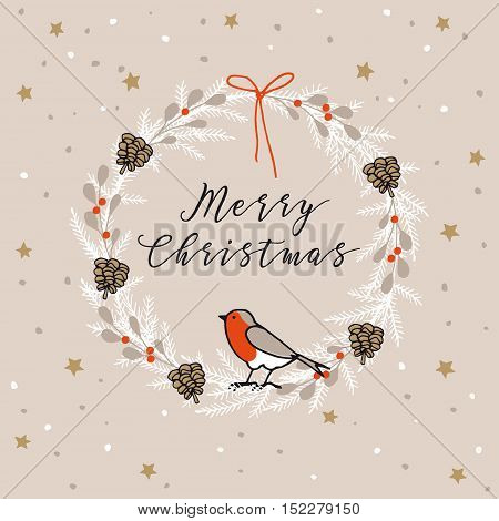 Vintage Merry Christmas Happy New Year greeting card invitation. Wreath made of evergreen branches berries pine cones and finch bird. Hand drawn vector illustration background.
