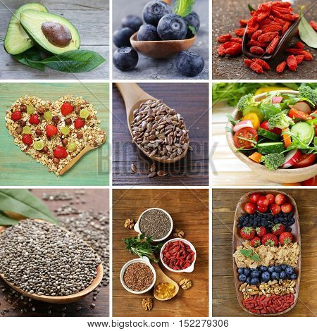 collage set super food - goji berries, chia seeds  with vegetables, fruits and herbs
