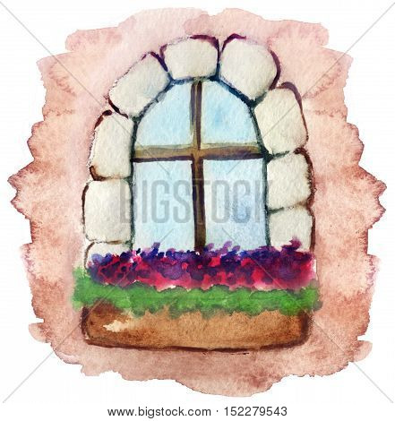 watercolor sketch of a window in the house with flowerbox