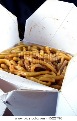 Lo Mien noodles in a takeout box. poster