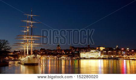 Stockholm, Sweden - November 9, 2012: The full-rigged sail ship af Chapman in dawn light at Skeppsholmen.