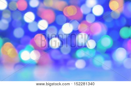 abtract blur colorful lights on blue background