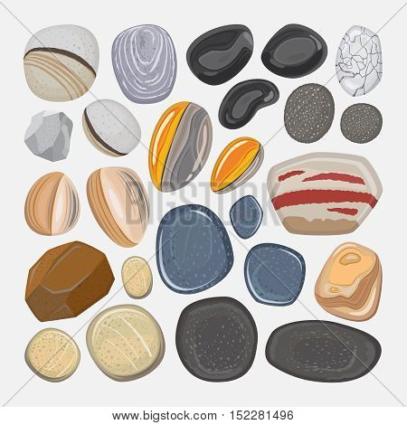 Vector river stones isolated on white background. Different shapes sea rock pebbles