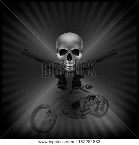 stock vector - background biker skull and revolvers