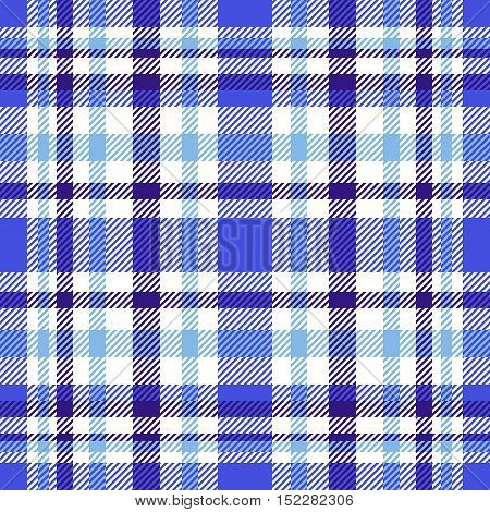Seamless tartan plaid pattern. Navy blue, white, soft blue and cornflower blue twill.