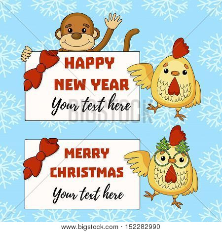 Vector element for New Year's design. Cock with monkey and frames for new year text.