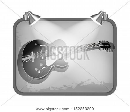 vector illustration frame with lighting and guitar
