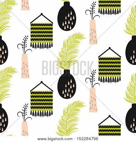 Home decor vase seamless vector pattern. Vase with palm branch and green woven tapestry pattern.