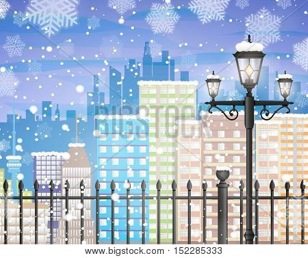 Winter background with city scape silhouette, iron fence, street lamp, snow and snowflakes, template for greeting or postal card new year, vector illustration