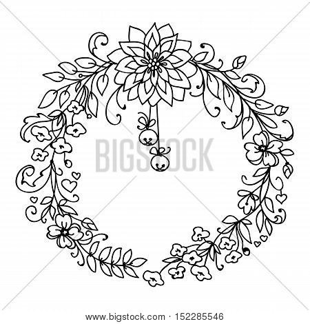 Merry Christmas and New Year wreath of branches and flowers with little bells. Black and white illustration isolated on white background. Simple art graphic design
