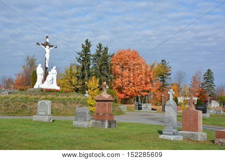 GRANBY QUEBEC CANADA 10 18 2016: Roman Catholic Cemetery (Granby) This is the old Roman Catholic cemetery of Granby. It is still active but there is also a modern cemetery in the town.
