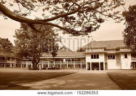 Mrigadayavan Palace in ChaAm Thailand in sepia tone.