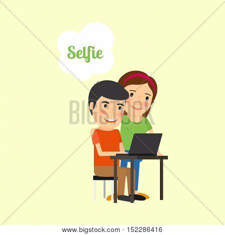 Couple taking selfie cartoon illustration. Vector icon on white background