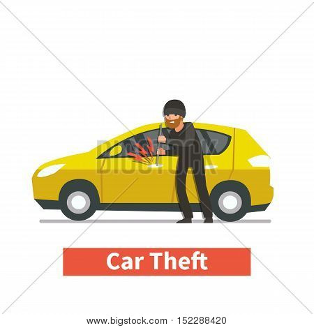 Thief steals a car. Vector cartoon illustration.