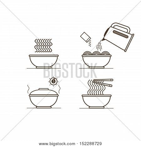 Instruction how to prepare instant noodles. Vector illustration.