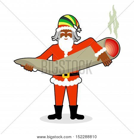Rasta Santa Claus Great Joint Or Spliff. Smoking Drug. Cheerful Grandfather With Dreadlocks And Rast