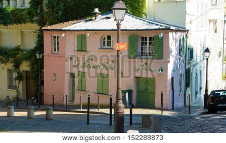 Paris France-July 09 2016: The traditionnal French restaurant La Maison Rose located in picturesque Montmartre district of Paris.