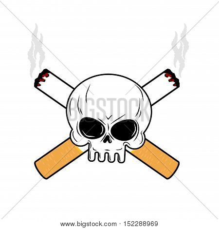 Skull And Crossbones Cigarettes. Smoking Leads To An Emblem Of Death. Logo For Disastrous Way Of Lif