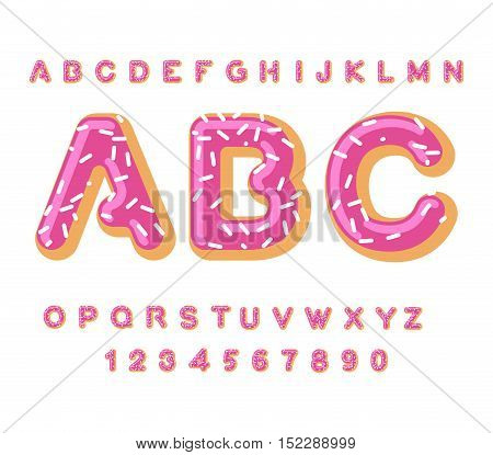 Donut Abc. Pie Alphabet. Baked In Oil Letters. Icing And Sprinkling. Edible Typography. Food Letteri