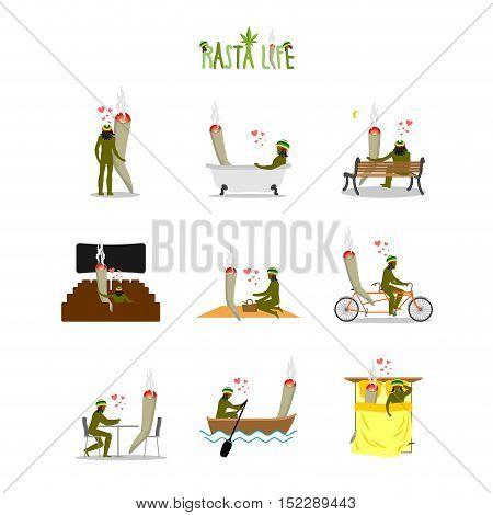 Rasta Life Set. Jamaican Living. Rastaman Joint Or Spliff Picnic. Man And Smoking Drug On Bike. Mari