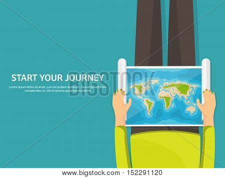 Travel and tourism. Flat style. World, earth map. Globe. Trip, tour, journey, summer holidays. Travelling, exploring worldwide. Adventure, expedition. Table, workplace. Traveler. Navigation.