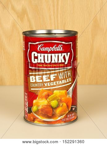 RIVER FALLSWISCONSIN-OCTOBER 182016: A can of Campbell's brand beef with country vegetables soup.