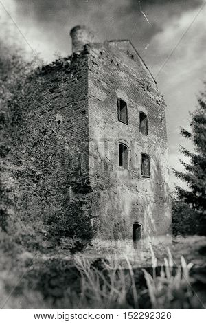 Ruins of abandoned and derelict haunted house