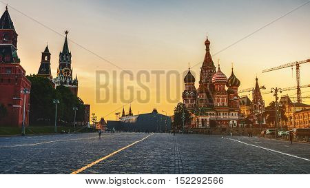 Saint Basil Cathedral on Red Square taken from Vasilyevskiy Spusk at sunset. One of the most popular landmark in Russia. The building is shaped as a flame of a bonfire rising into the sky.