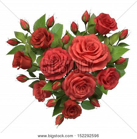 Red roses bouquet in the heart shape isolated on white 3d illustration.