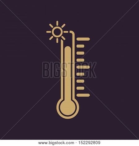 The thermometer icon. High temperature symbol. Flat Vector illustration