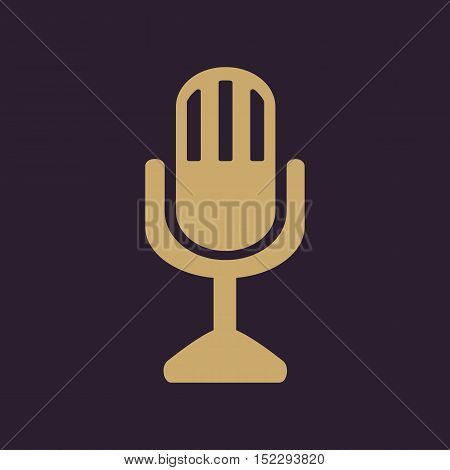 The mic icon. Microphone symbol. Flat Vector illustration