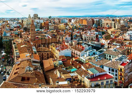 Medieval old town of Valencia. Panoramic view of a third largest city in Spain. It is popular tourist destination with famous ancient and modern architecture landmarks