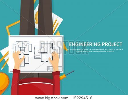Vector illustration. Engineering and architecture. Drawing, construction. Architectural project. Design, sketching Workspace with tools Planning building