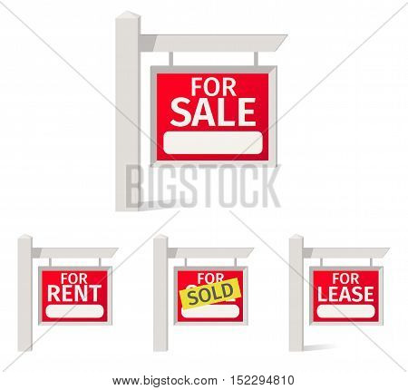 Real Estate Signs, red plate with a field for notes on the pole