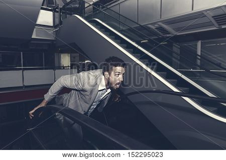 Frightened Man Run Away. Stressed Businessman. Scared Man.