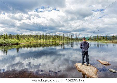 Flyfishing in the Norwegian mountains near Kongsberg